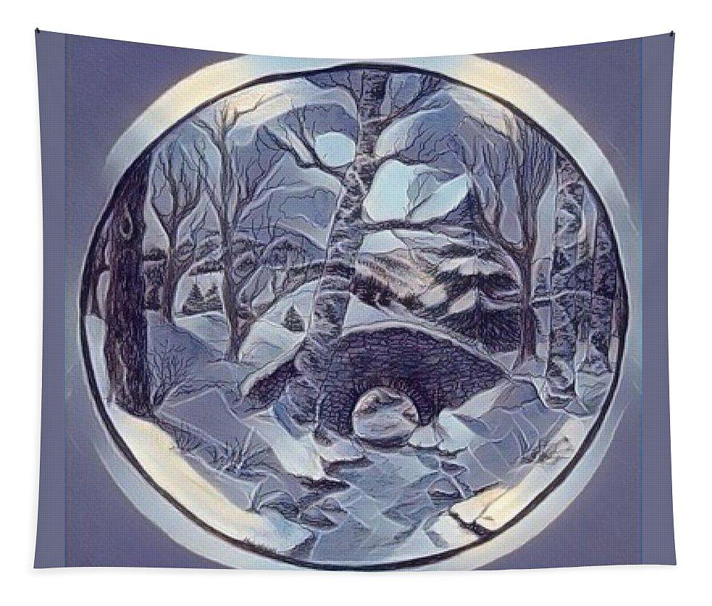 Blue Tapestry featuring the digital art Winter Bridge In Blue by Megan Walsh