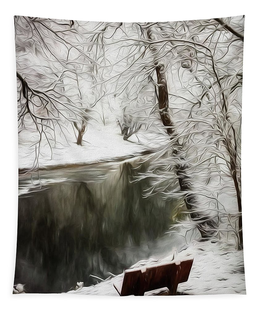 Appalachia Tapestry featuring the photograph Winter Contemplation Watercolor Painting by Debra and Dave Vanderlaan