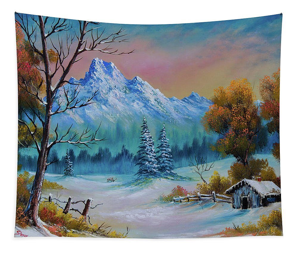 Landscape Tapestry featuring the painting Winter Den by Chris Steele
