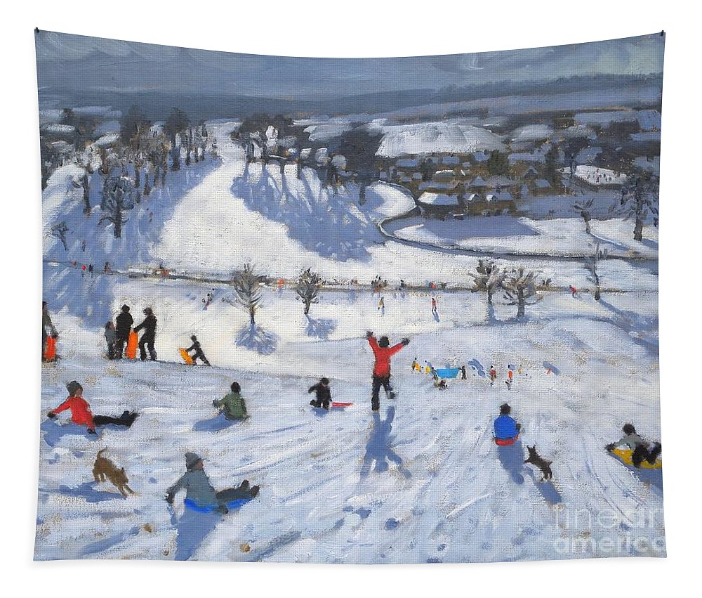 Winter Fun Tapestry featuring the painting Winter Fun by Andrew Macara