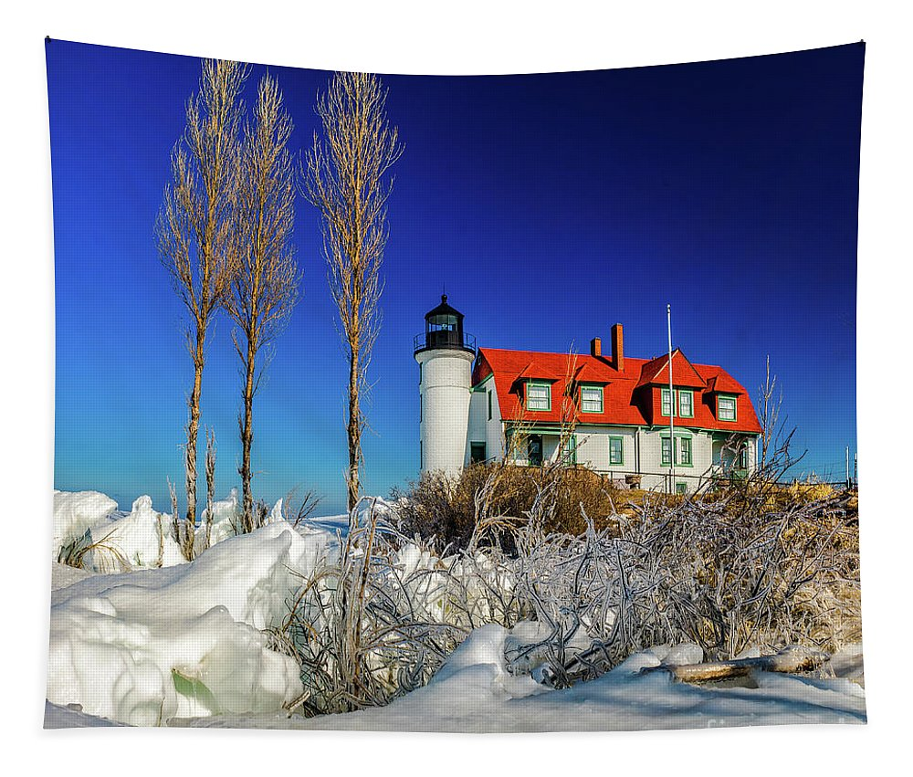 Great Lakes Tapestry featuring the photograph Winter Ice At Point Betsie by Nick Zelinsky