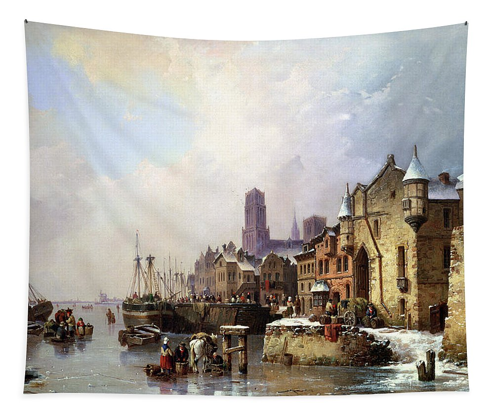 Winter Tapestry featuring the painting Winter In Konigsberg by Ludwig Hermann