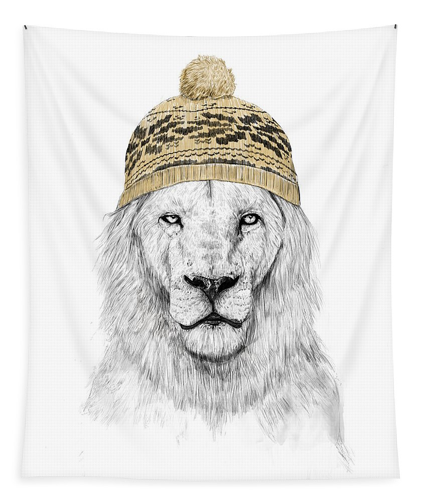 Lion Tapestry featuring the drawing Winter lion by Balazs Solti