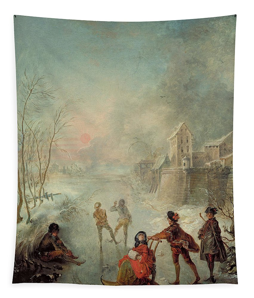 Winter Tapestry featuring the painting Winter by Jacques de Lajoue