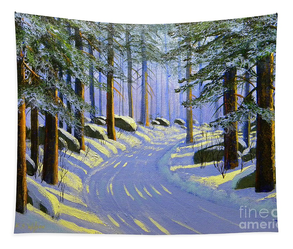 Tree Tapestry featuring the painting Winter Landscape Study 1 by Frank Wilson