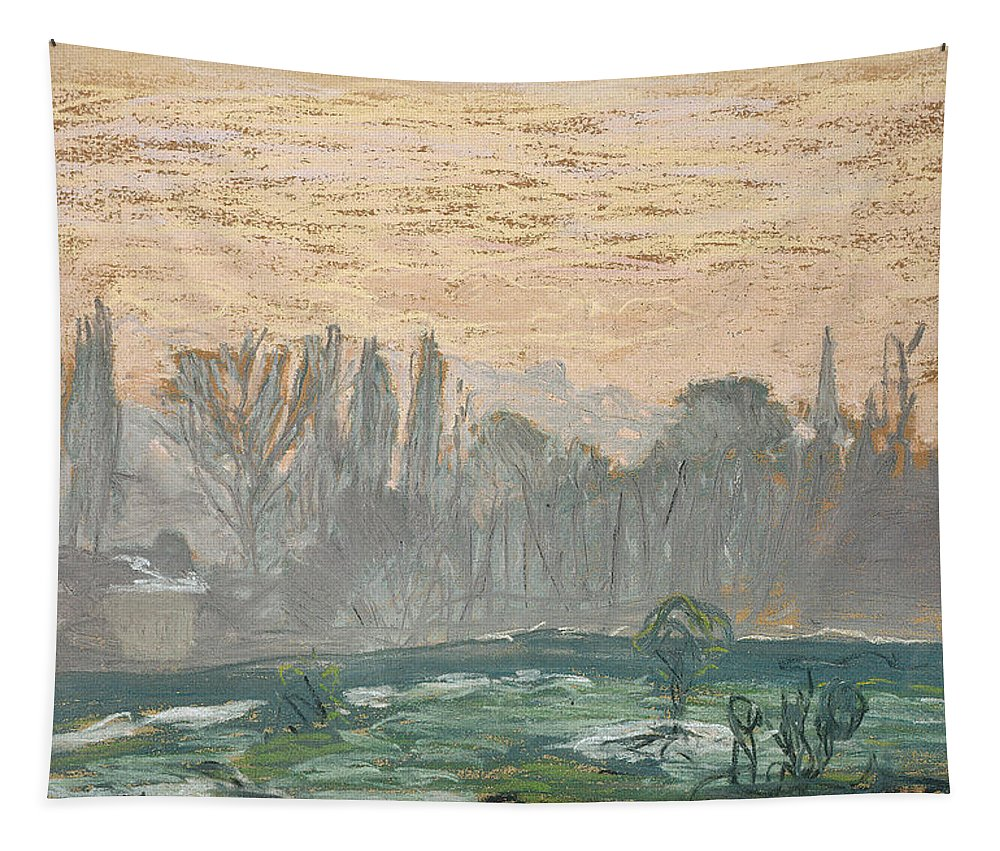 Claude Monet Tapestry featuring the painting Winter Landscape With Evening Sky by Claude Monet