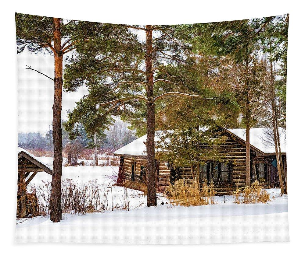 Steve Harrington Tapestry featuring the photograph Winter Log Cabin 3 - Paint by Steve Harrington