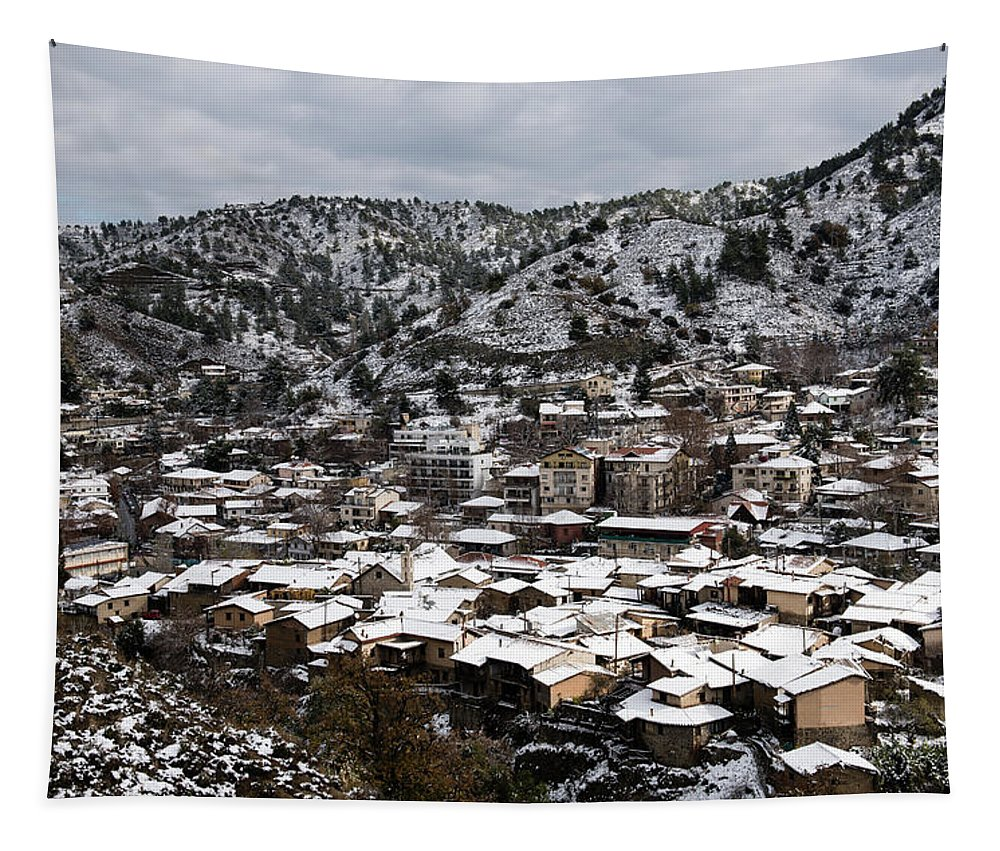 Winter Tapestry featuring the photograph Winter Mountain Village Landscape With Snow by Michalakis Ppalis