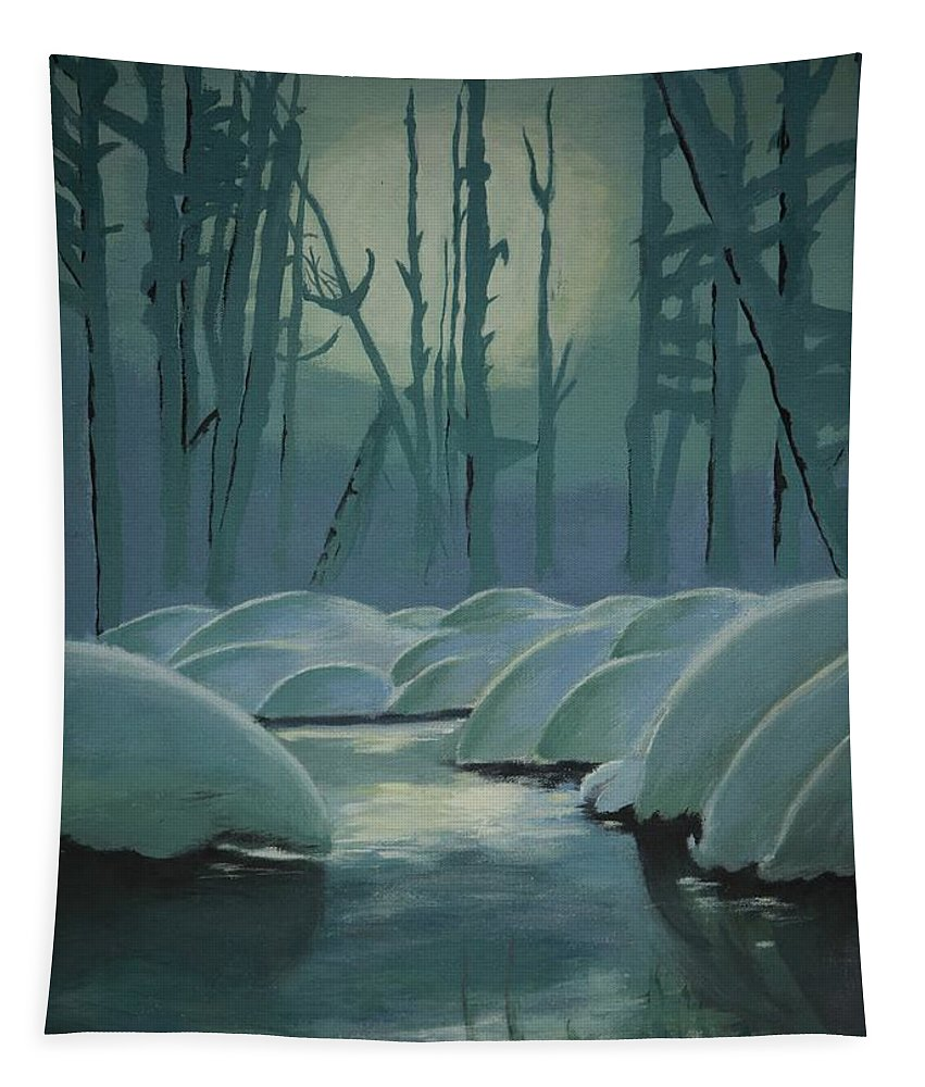 River Tapestry featuring the painting Winter Quiet by Jacqueline Athmann