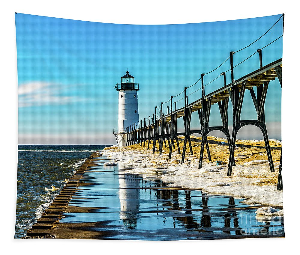 Manistee North Pier Head Tapestry featuring the photograph Winter Reflection At Manistee Light by Nick Zelinsky