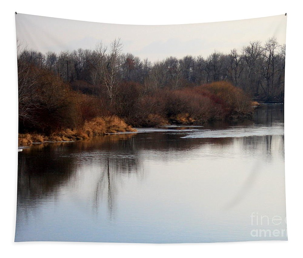 Yakima Tapestry featuring the photograph Winter Riverbank by Carol Groenen