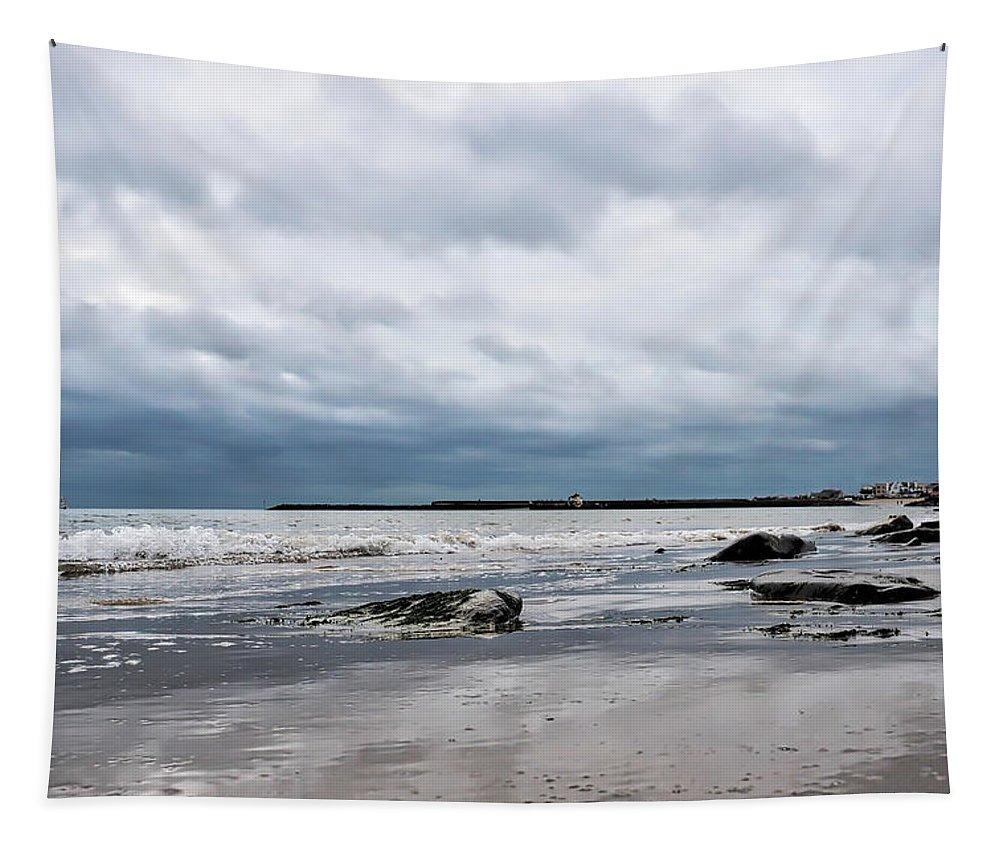 Lyme-regis Tapestry featuring the photograph Winter Seascape 2 - Lyme Regis by Susie Peek