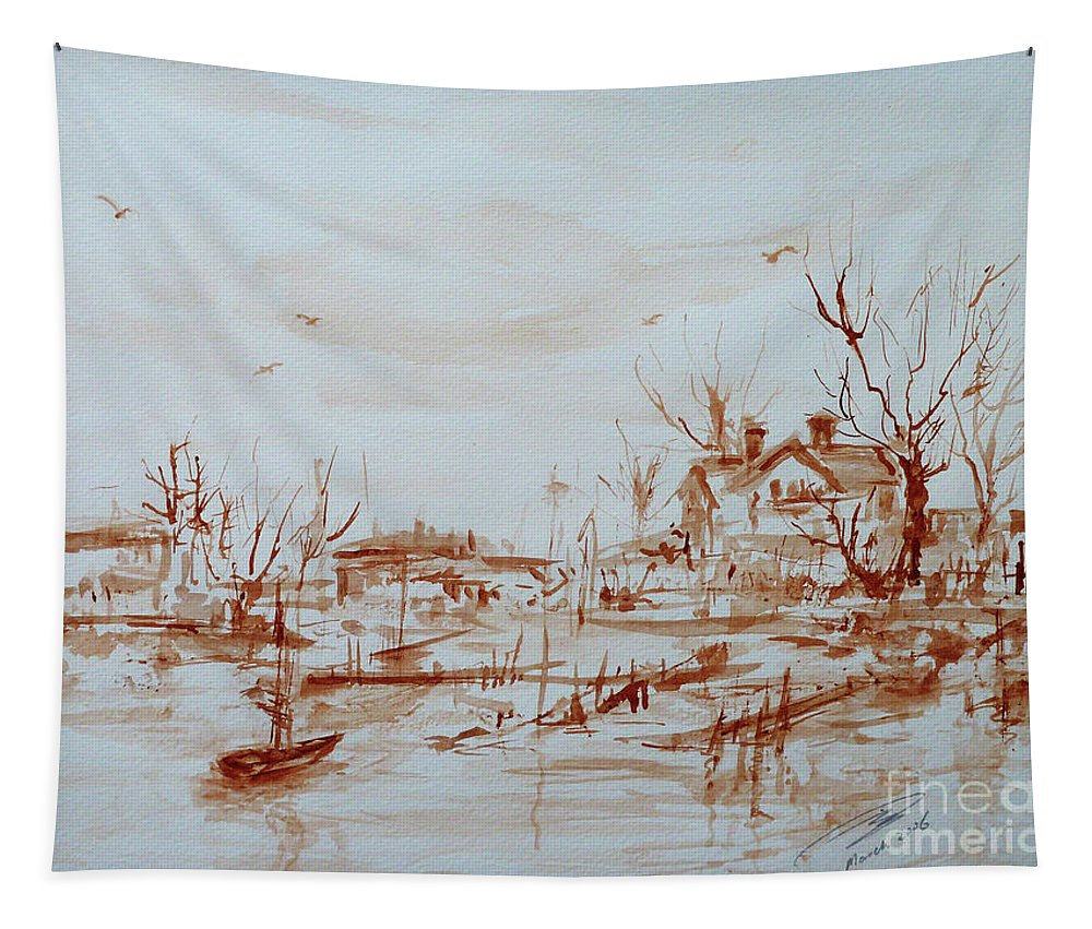 Landscape Tapestry featuring the painting Winter Sketch 1 by Xueling Zou