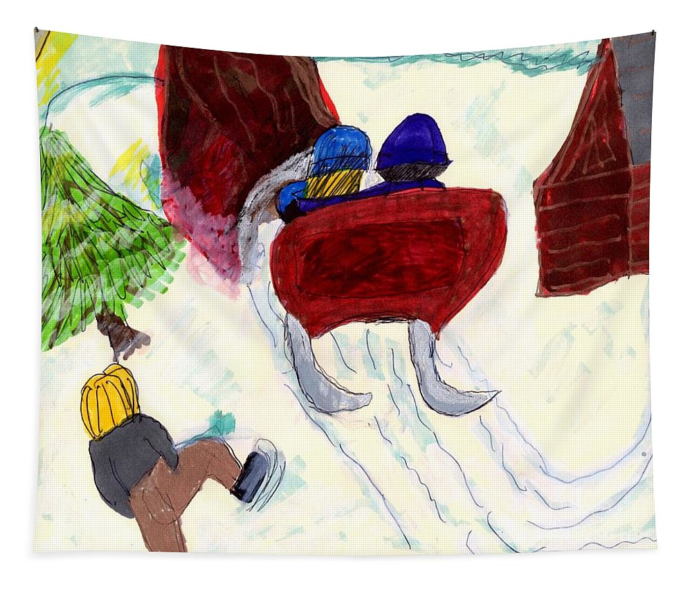 Horse Drawn Sleigh With A Couple Boy Walking To The Sleigh Barn Tapestry featuring the mixed media Winter Sleigh Ride Through The Tunnel by Elinor Helen Rakowski