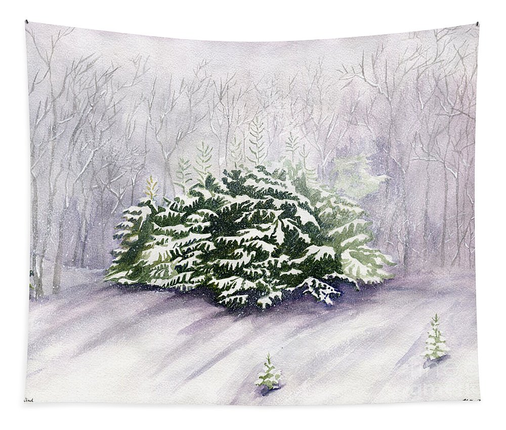 Winter Tapestry featuring the painting Winter Wind by Melly Terpening