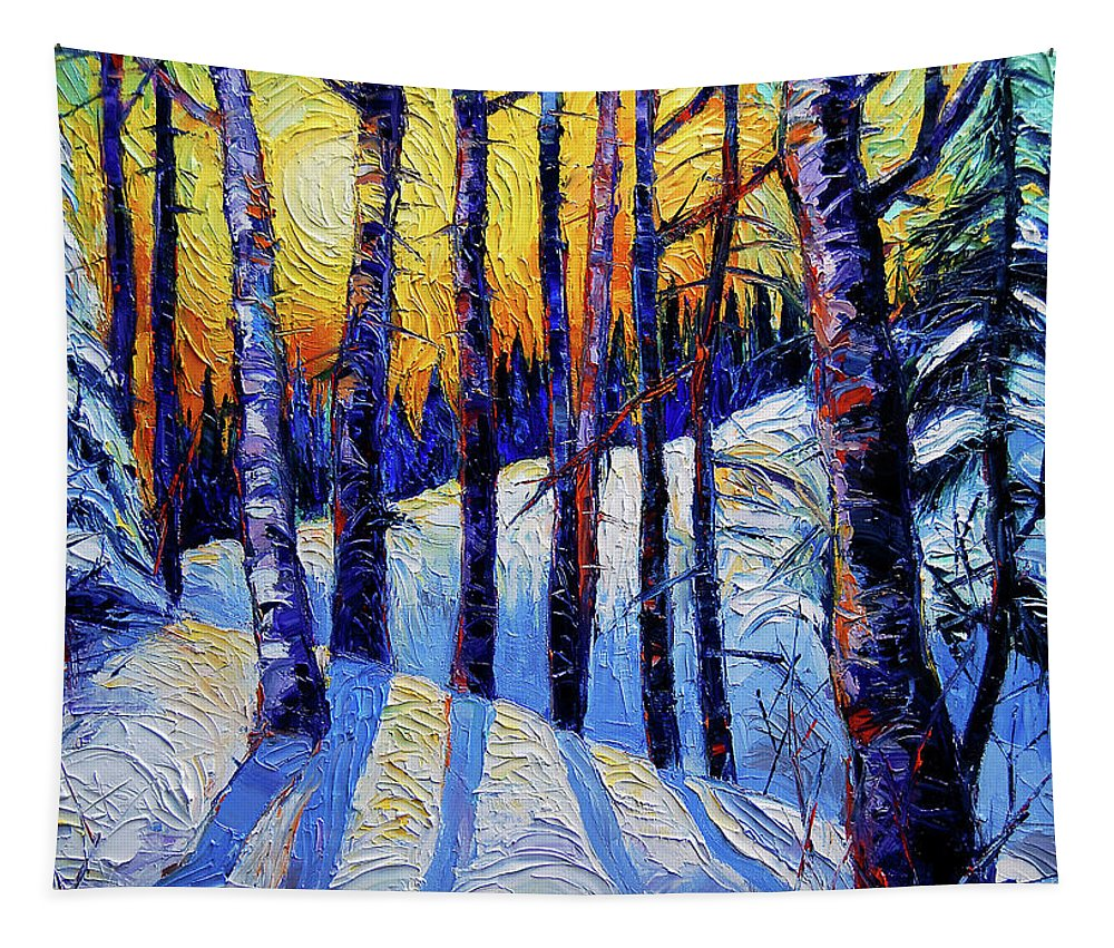 Winter Woodland Sunset Tapestry featuring the painting Winter Woodland Sunset Modern Impressionism Palette Knife Oil Painting by Mona Edulesco