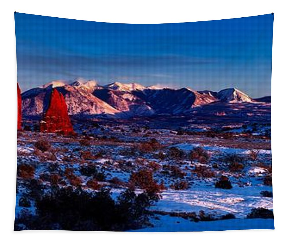Arches National Park Tapestry featuring the photograph Wintry Sunset Glow by Jacob Frank