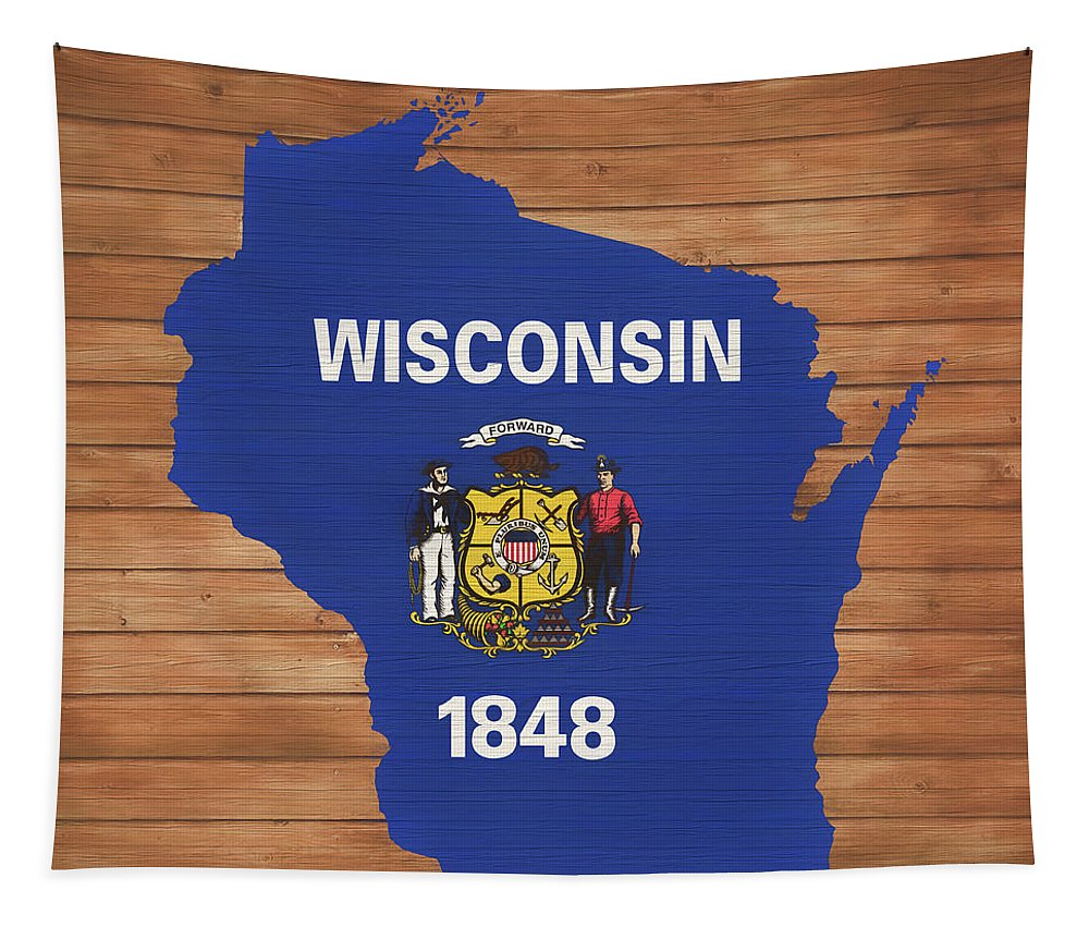 Wisconsin Rustic Map On Wood Tapestry featuring the mixed media Wisconsin Rustic Map On Wood by Dan Sproul