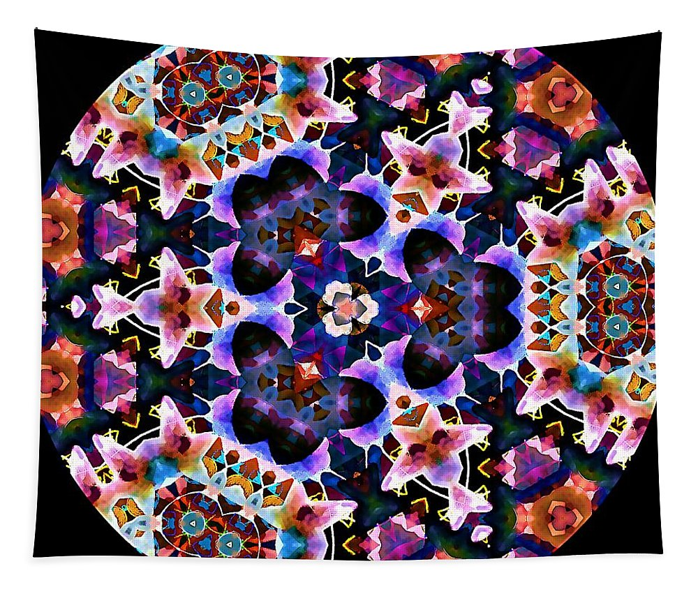Kaleidoscope Tapestry featuring the digital art Wisdom And Balance by Laurie Cairone