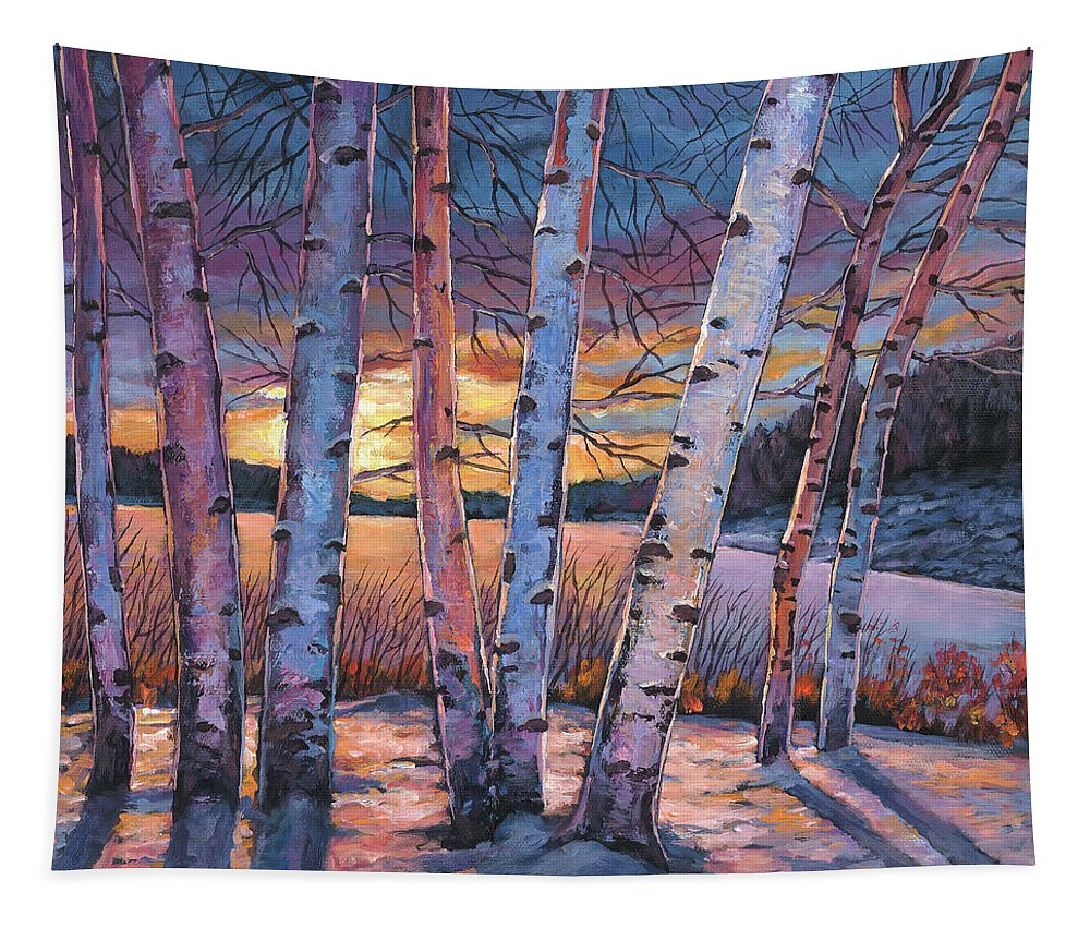 Winter Aspen Tapestry featuring the painting Wish You Were Here by Johnathan Harris