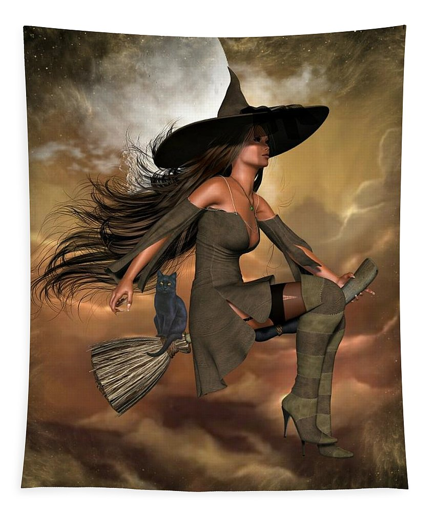 Art Tapestry featuring the digital art Witch Way by Ali Oppy