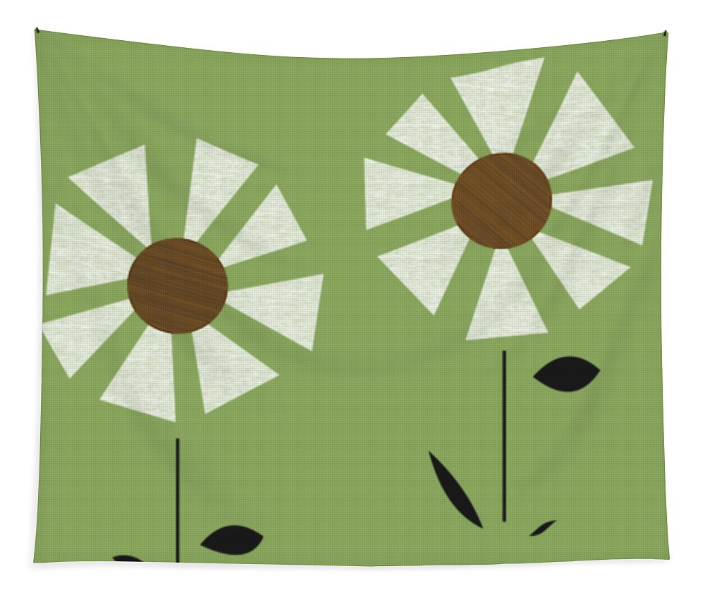 Mid Century Modern Tapestry featuring the digital art Witco Flowers by Donna Mibus