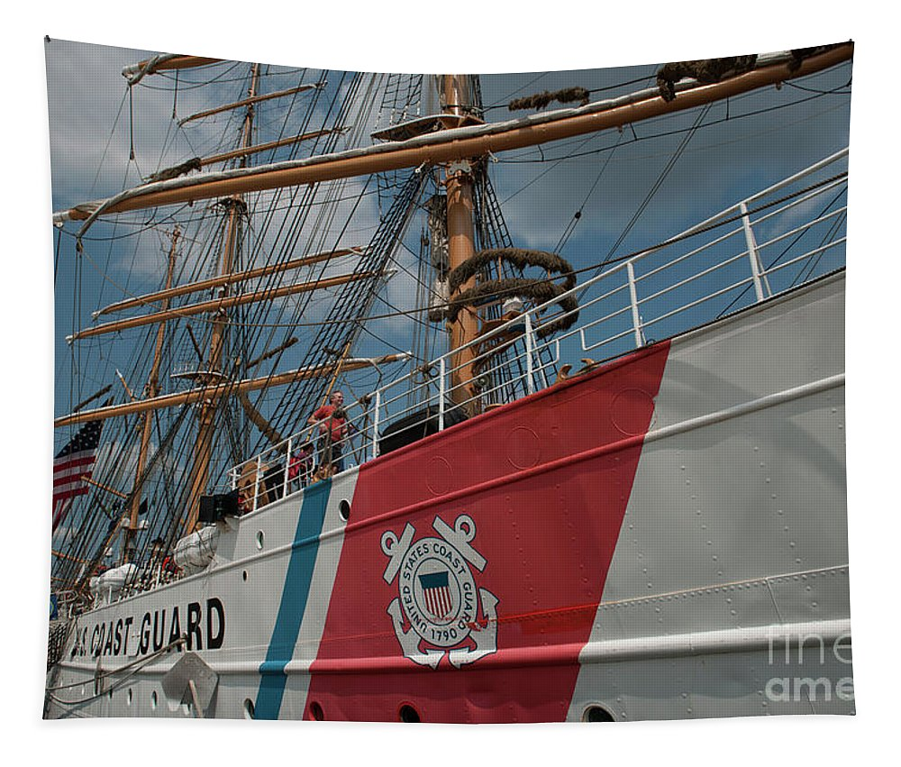 United States Coast Guard Eagle Masthead Tapestry featuring the photograph Wix-327 by Dale Powell