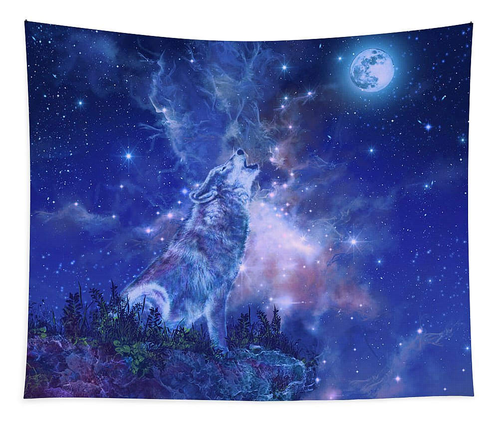 Wolf Tapestry featuring the painting Wolf And Sky Blue 2 by Bekim Art