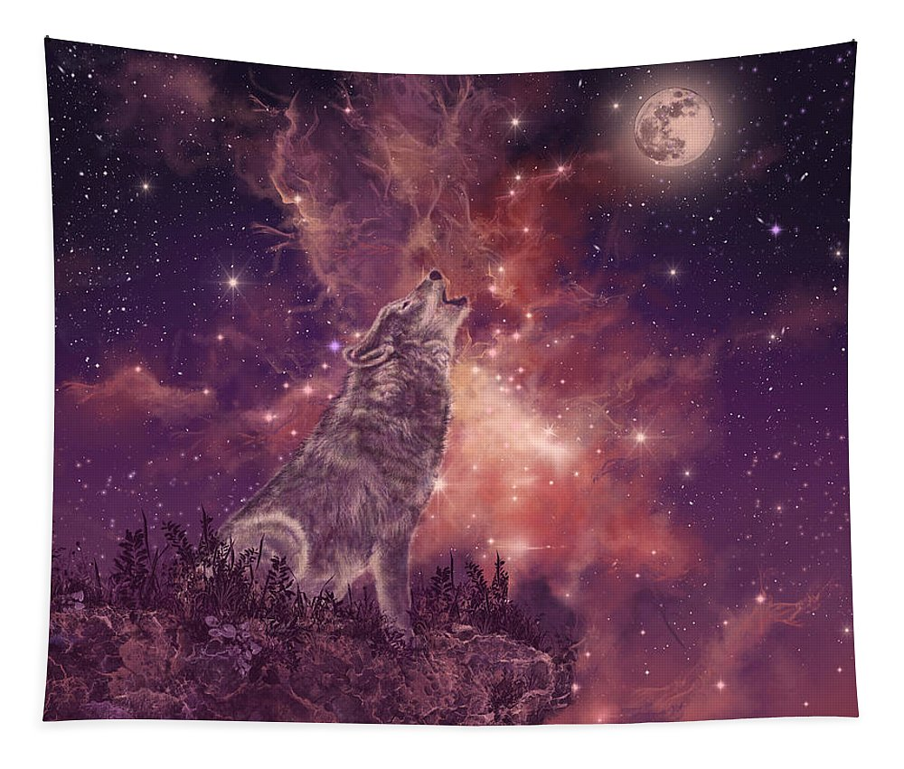 Wolf Tapestry featuring the painting Wolf And Sky Red by Bekim Art