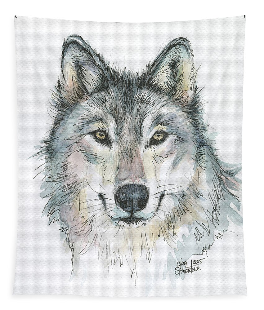 Watercolor Tapestry featuring the painting Wolf by Olga Shvartsur