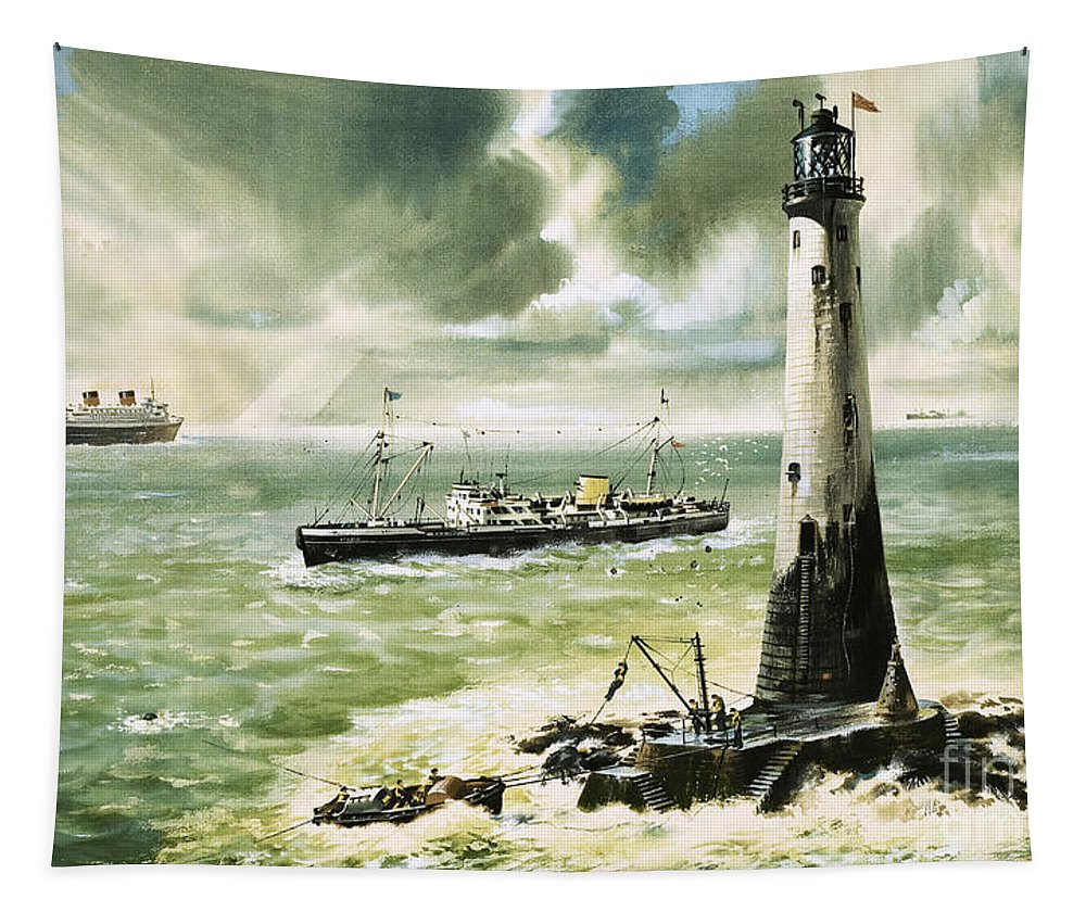 Lighthouse Tapestry featuring the painting Wolf Rock Lighthouse At Land's End by Wilf Hardy