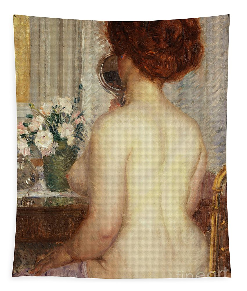 Nude Tapestry featuring the painting Woman At A Dressing Table by Frederick Carl Frieseke