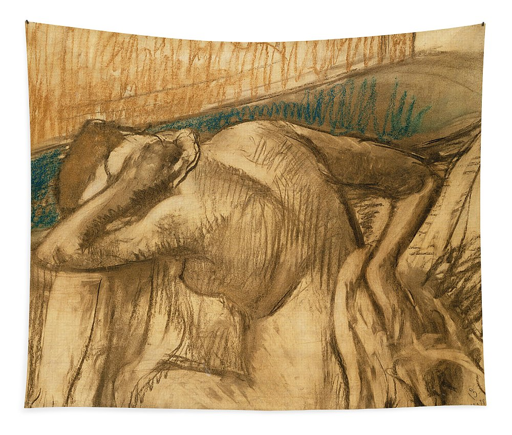 Woman Tapestry featuring the pastel Woman At Her Toilet by Edgar Degas