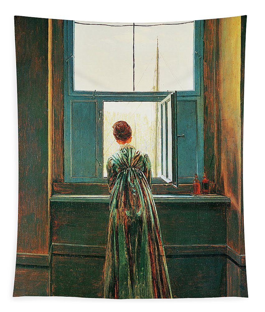 Female Tapestry featuring the painting Woman At Window by Caspar David Friedrich
