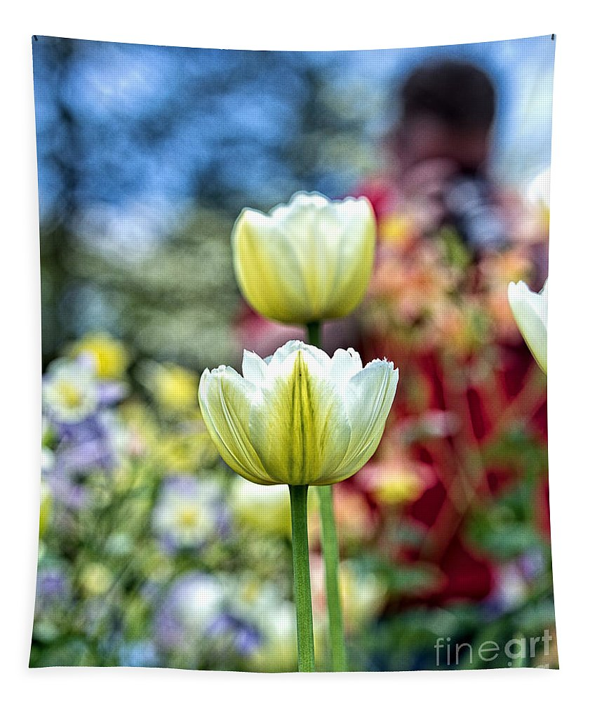 Bohken Tapestry featuring the photograph Photographer Behind The Flowers by Tom Gari Gallery-Three-Photography