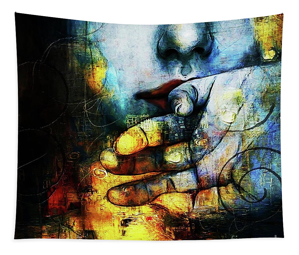 Woman Tapestry featuring the painting Woman Face by Gull G