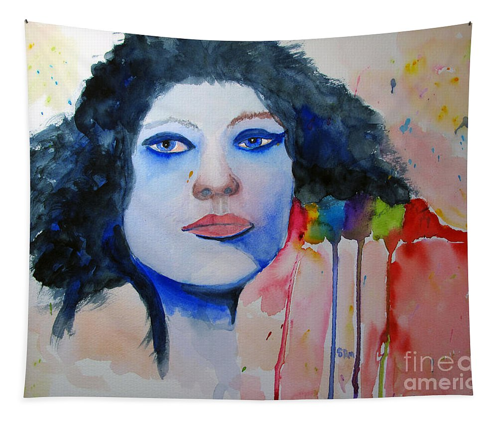 Woman Tapestry featuring the painting Woman In Blue by Sandy McIntire