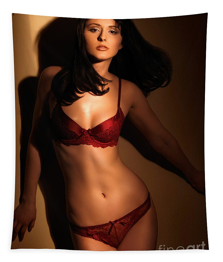 Lingerie Tapestry featuring the photograph Woman In Red Lingerie by Oleksiy Maksymenko