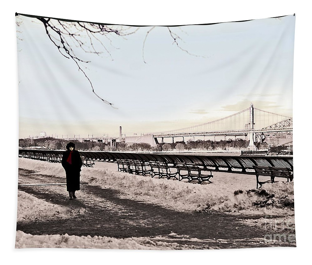 Snow Tapestry featuring the photograph Woman In The Snow by Madeline Ellis