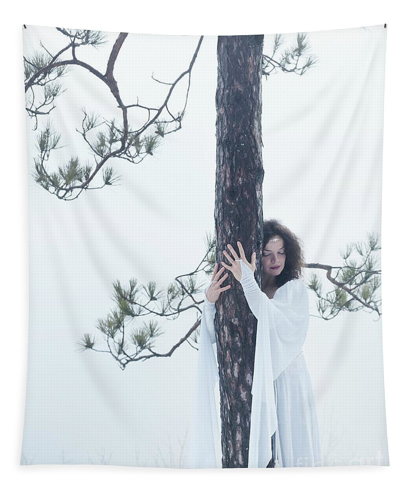 Woman Tapestry featuring the photograph Woman In White Dress Hugging A Tree by Awen Fine Art Prints