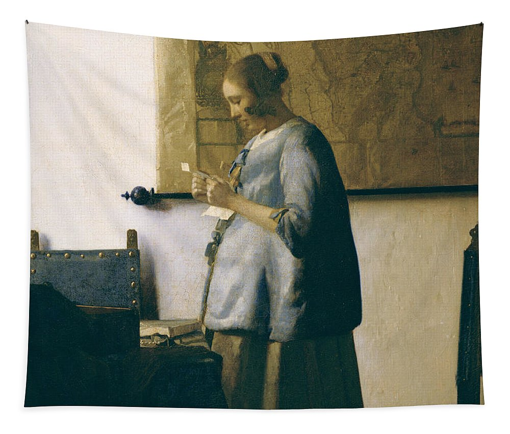 Woman Reading A Letter Tapestry featuring the painting Woman Reading A Letter by Jan Vermeer
