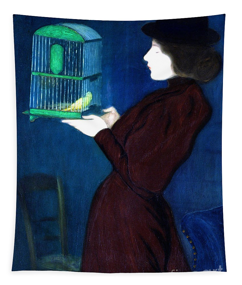 Female Tapestry featuring the painting Woman With A Bird Cage Detail by Jozsef Rippl-Ronai