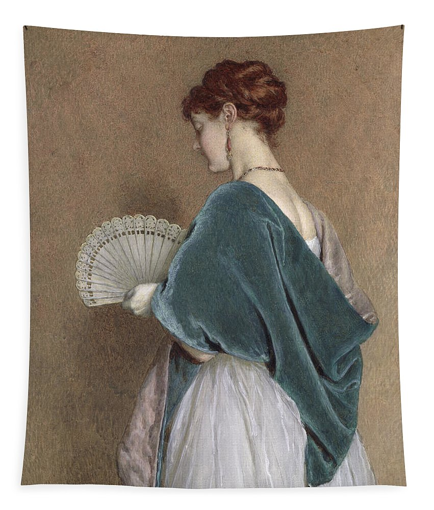 Woman Tapestry featuring the photograph Woman With A Fan by John Dawson Watson