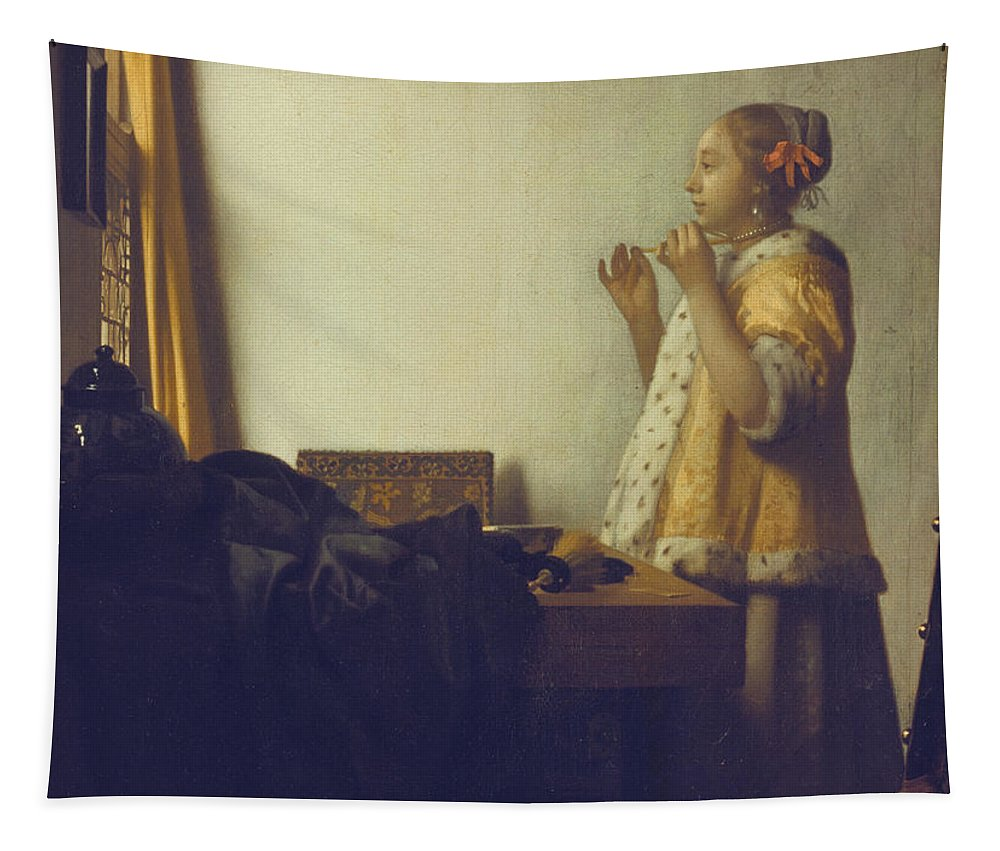 Vermeer Tapestry featuring the painting Woman With A Pearl Necklace by Jan Vermeer