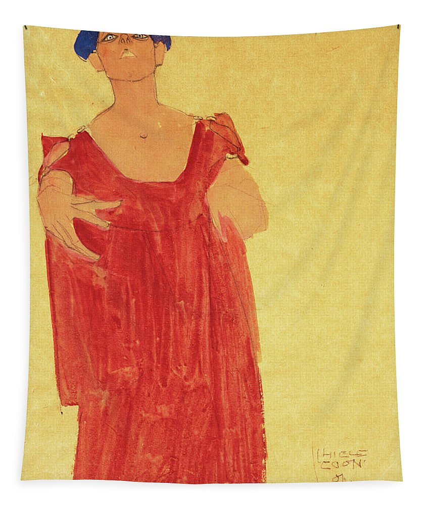 Egon Schiele Tapestry featuring the painting Woman With Blue Hair by Egon Schiele