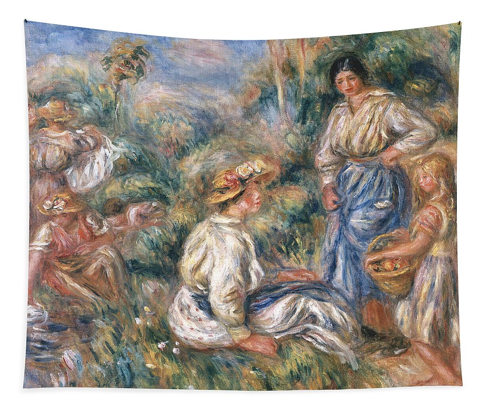 Women Tapestry featuring the painting Women In A Landscape by Renoir