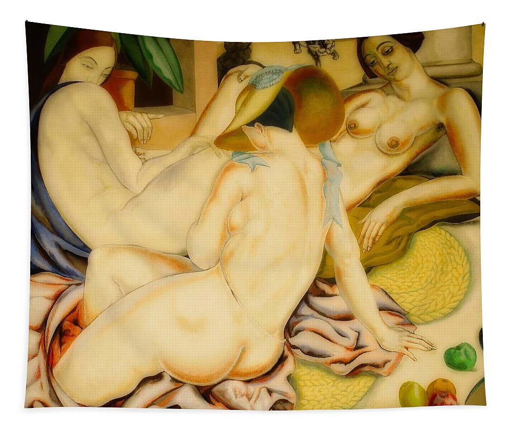 Painting Tapestry featuring the painting Women Indolent by Alfredo Guttero