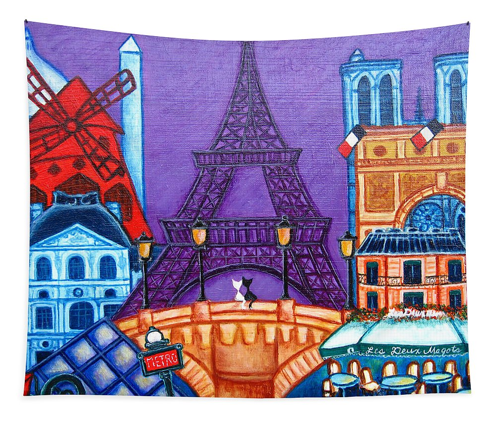 Paris Tapestry featuring the painting Wonders of Paris by Lisa Lorenz