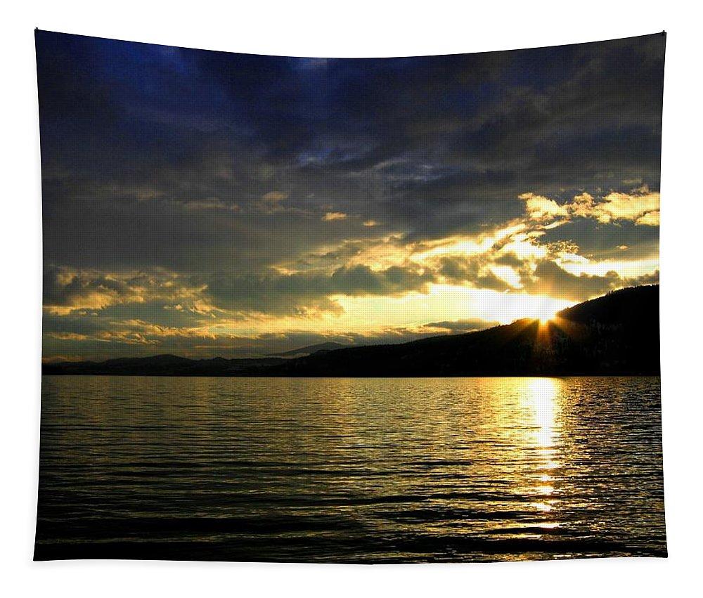 Sunburst Tapestry featuring the photograph Wood Lake Sunburst by Will Borden
