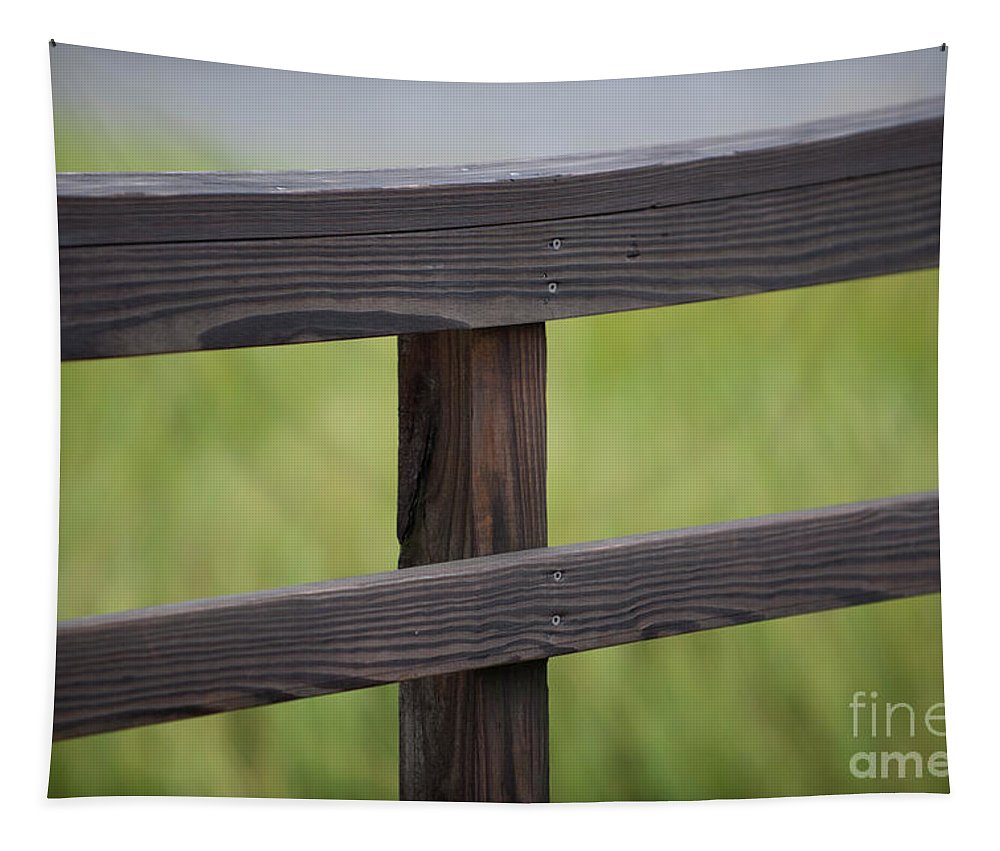 Wood Tapestry featuring the photograph Wood Railing Over The Marsh by Dale Powell
